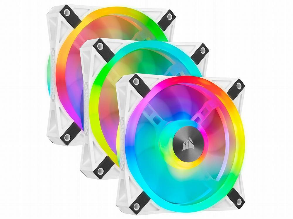 ◆ファン3台+Lighting Node CORE同梱パック【CORSAIR】QL120 RGB White Fan Kit (CO-9050104-WW)
