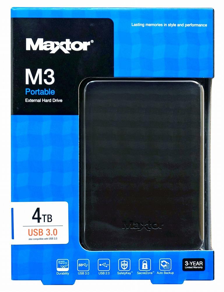 ◆USB3.0/外付ポータブルUSB接続!【MAXTOR】HX-M401TCB/GM