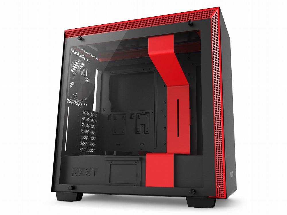 ◆自分好みに改造できる、最上位モデルのネイキッドモデル【NZXT】CA-H700B-BR  赤モデル