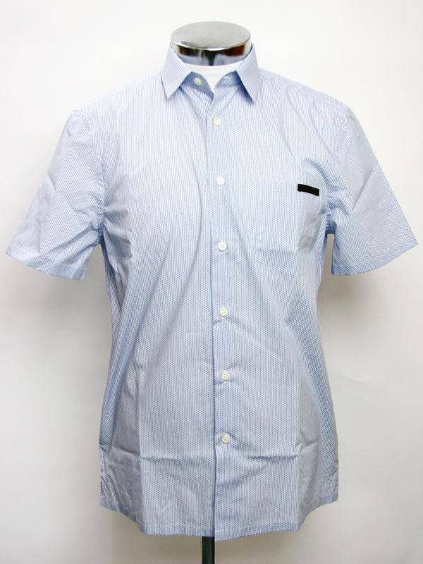 Prada Mens Dress Shirts Short Sleeve Shirt Bleu Sky Blue Ucs213 4qf 008