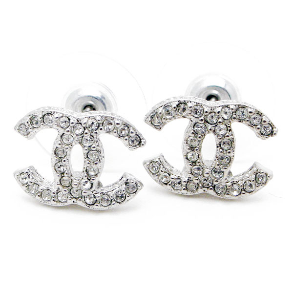 Chanel Cc Coco Make Rhinestone Earring Silver Clear A85550 Y02003 Z3502