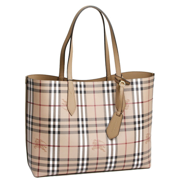 Burberry Reversible Tote Bag Mid Camel Haymarket Check 4049584 1