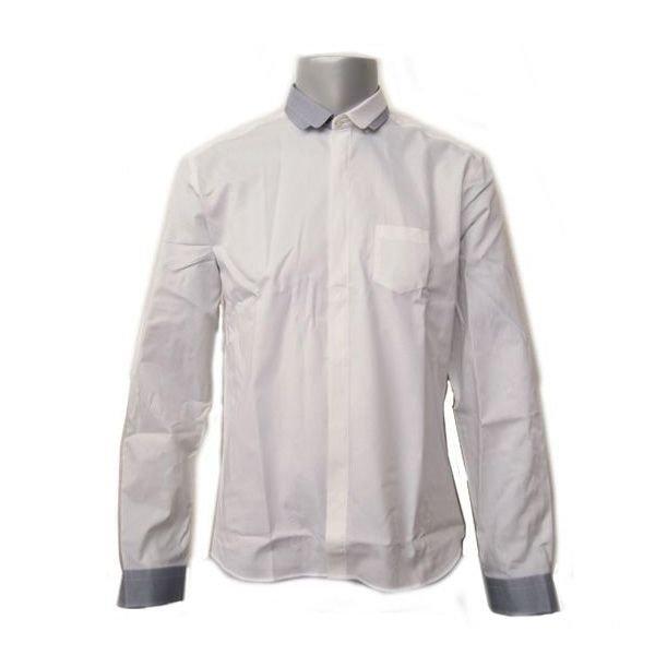 『ポイント5倍還元』ニールバレット NEIL BARRETTドレスシャツ ホワイト×ライトグレー BCM08C C3108【コンビニ受取】 【ロッカー受取】 【国際配送】