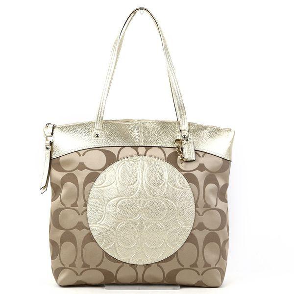 Coach Laura Signature Tote Bag F18335 Skhgd Khaki Gold 05p01nov14
