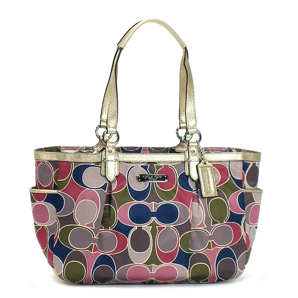 """Point three times-12 / 26 9:59 ' coaches COACH Gallery scarf print Tote tote bag F19464 SV/MC Gold x multicolor"