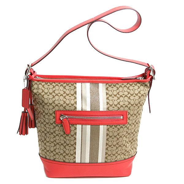 Coach Legacy Signature Stripe Shoulder Bag F19918 Svaqe Khaki White Mother Of Pearl