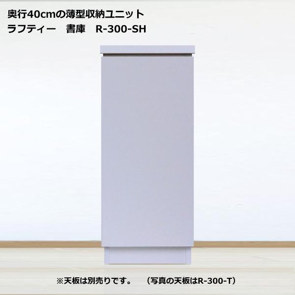 薄型収納ユニット ラフティー・シリーズ書庫 30cm幅 R-300-SH奥行40cmタイプ 【完成品】【日本製】