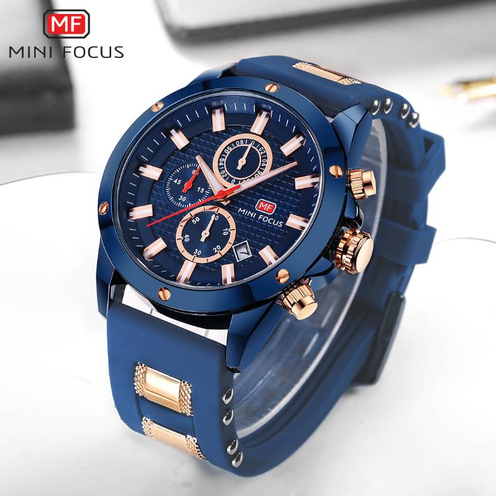 【送料無料・税込み】MINI FOCUS TB-4503 腕時計 お洒落 日本製クオーツ メンズ 重厚 高級 クール 流行 カレンダー ストップウォッチ Quartz