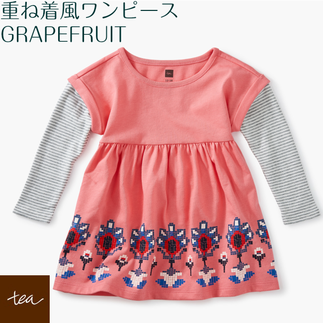 3ec582a83aee5 It is Layerd Sleeve Baby Derss Grapefruit in Tea Collection change dress  foreign countries pink white white blossom flower dress 1 year old 2 years  ...