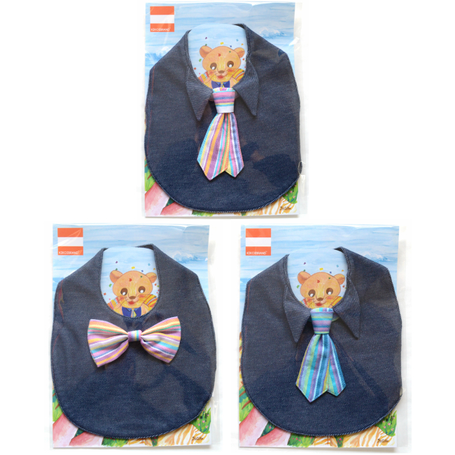 Kikoi Stai Tie Bow Tie Rainbow Denim Blue Baby Baby Baby Gift Birthday Souvenir Picture Fashion Child Bibb 1 Year Old 60 70 80 Childrens Clothes