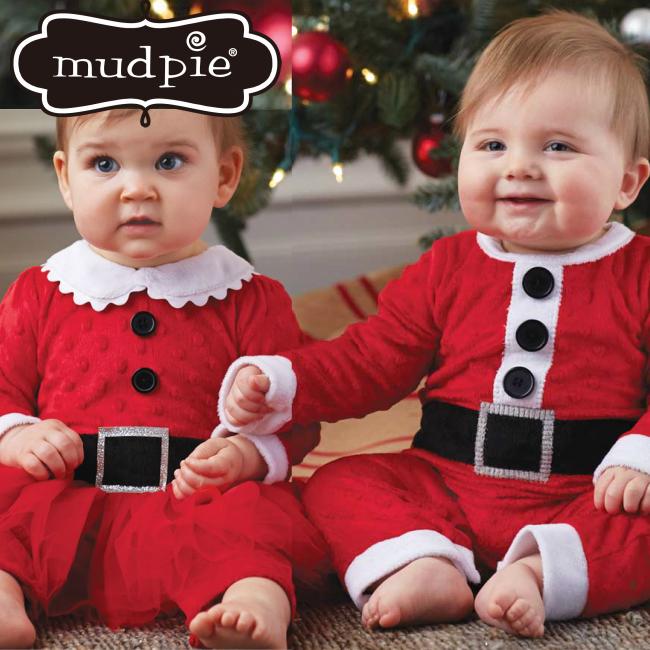 Mud Pie サンタワンピース ロンパース チュチュ サンタクロース ボディスーツ 子供 ベビー キッズ 男の子 女の子 仮装 コスプレ スカート 1歳 1才 乳幼児 新生児 80cm 90cm クリスマス 赤 パーティ santa 1pc マッドパイ 1032211 1032204