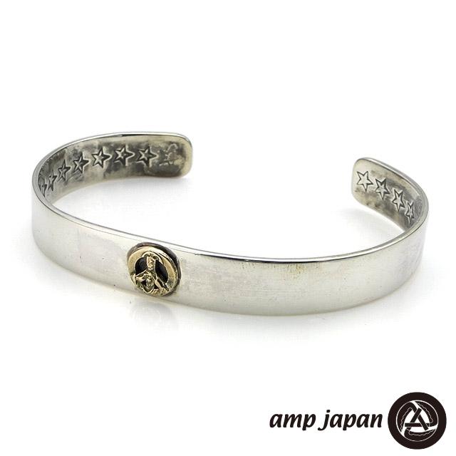 アンプジャパン【amp japan】フラット シルバー バングル / K10ピースサイン