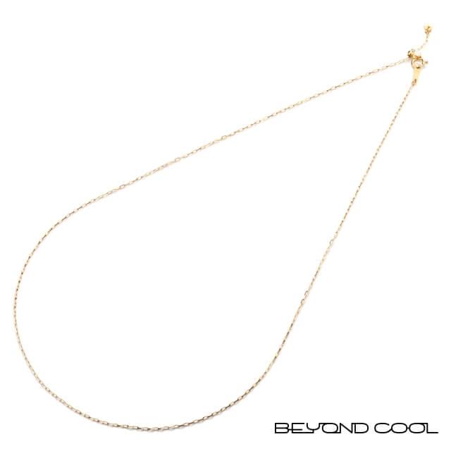 ネックレス チェーン ゴールド K18 45cm(シャインカットあずき/スライド式アジャスター) ビヨンクール オリジナル BeyondCool