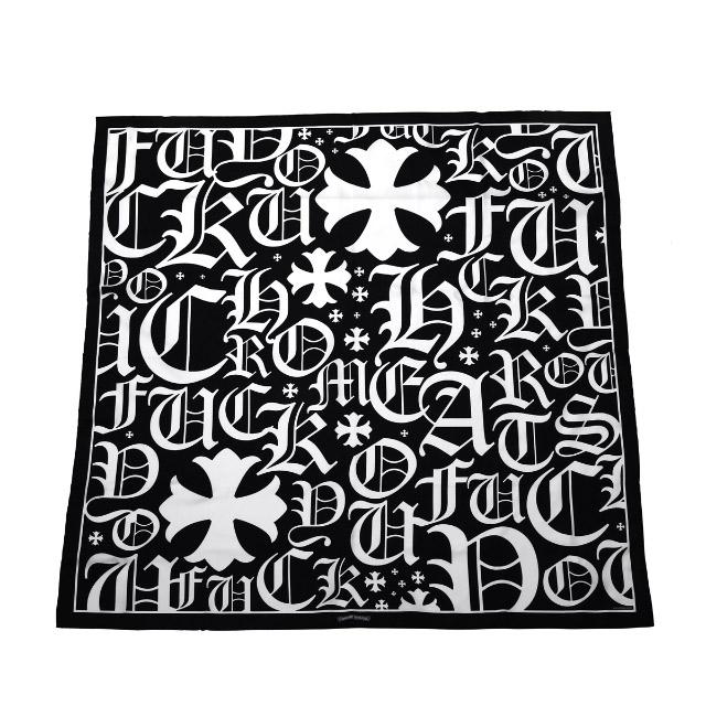 クロムハーツ【Chrome Hearts】CH ファックユー オールオーバー スカーフ ブラック&ホワイト