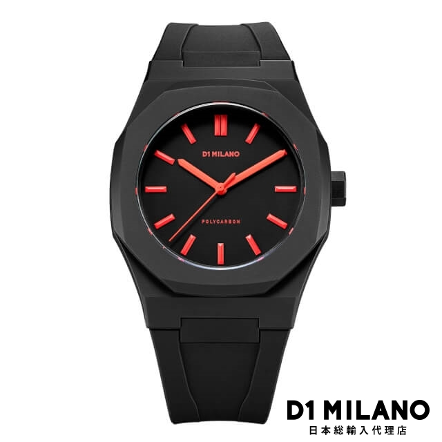 D1ミラノ 日本総輸入代理店 腕時計 メンズ 時計 D1 MILANO Neon Watch Black with Red Index with rubber strap