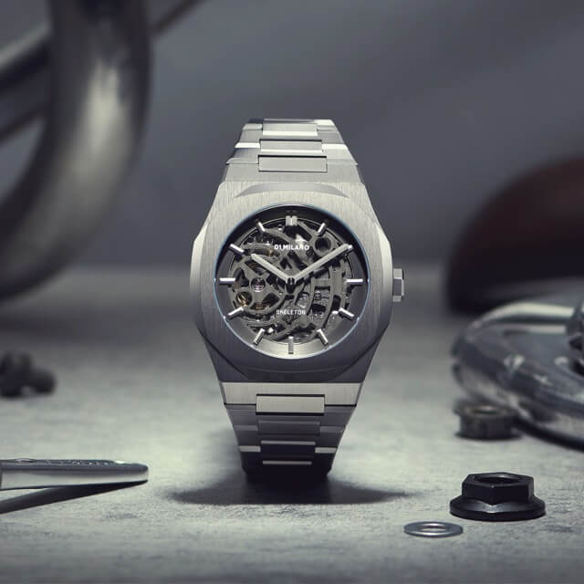 D1ミラノ 日本総輸入代理店 腕時計 メンズ 時計 D1 MILANO P701 Automatic Skeleton Watch Silver Case with Silver Bracelet