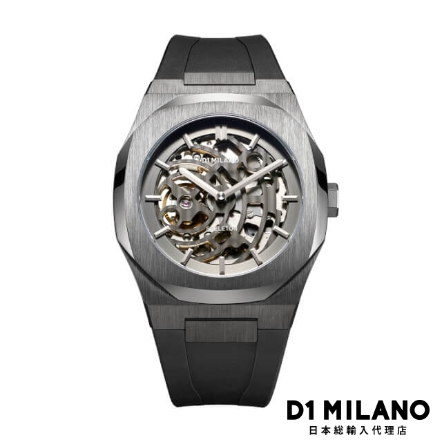 D1ミラノ 日本総輸入代理店 腕時計 メンズ 時計 D1 MILANO P701 Automatic Skeleton Watch IP Gun Case with Black Strap
