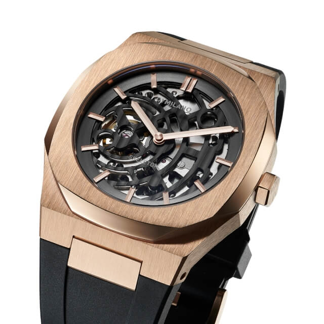 D1ミラノ 日本総輸入代理店 腕時計 メンズ 時計 D1 MILANO P701 Automatic Skeleton Watch Rose Gold Case with Black Strap