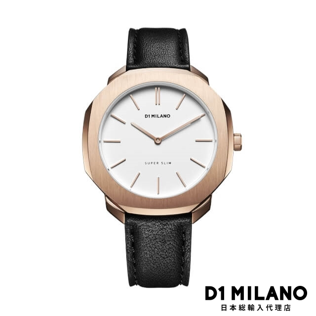 D1ミラノ 日本総輸入代理店 腕時計 メンズ 時計 D1 MILANO Super Slim Rose Gold Case with Black Leather Strap