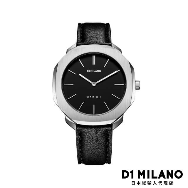 D1ミラノ 日本総輸入代理店 腕時計 メンズ 時計 D1 MILANO Super Slim Silver Case with Black Leather Strap
