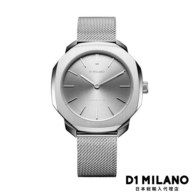 D1ミラノ 日本総輸入代理店 腕時計 メンズ 時計 D1 MILANO Super Slim Silver Case with Silver Mesh Strap