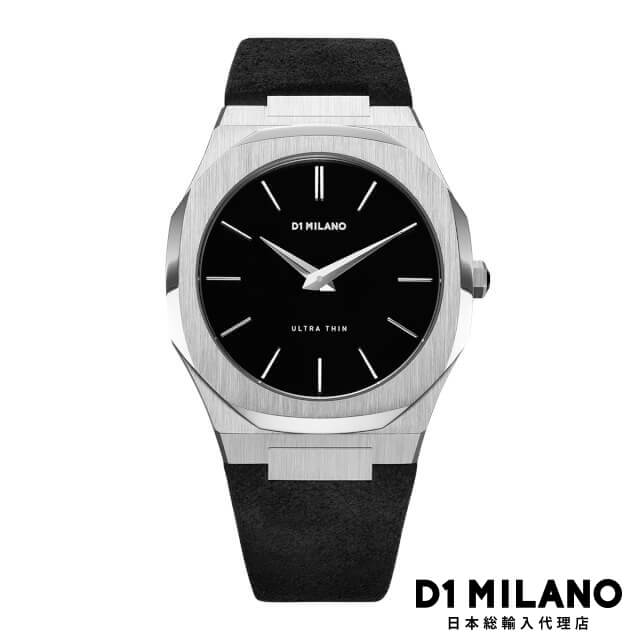D1ミラノ 日本総輸入代理店 腕時計 メンズ 時計 D1 MILANO Ultra Thin Silver Case with Stromboli Black Suede Strap