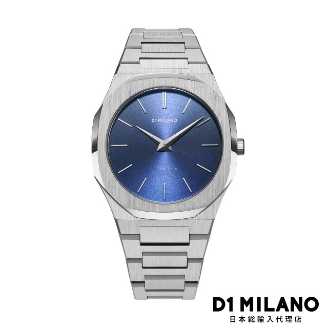 D1ミラノ 日本総輸入代理店 腕時計 メンズ レディース ブルー D1 MILANO Ultra Thin Gems Collection Sapphire Blue Soleil dial with stainless steel bracelet