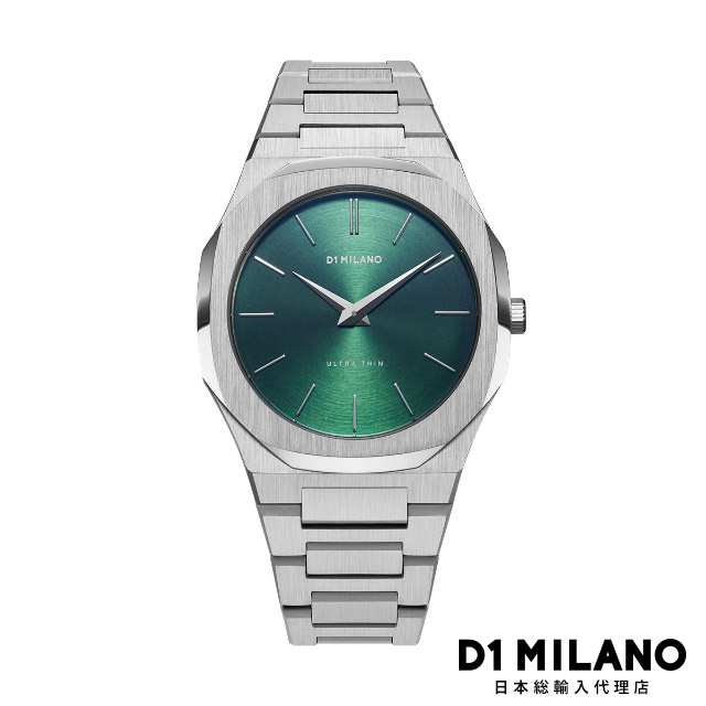 D1ミラノ 日本総輸入代理店 腕時計 メンズ レディース グリーン D1 MILANO Ultra Thin Gems Collection Emerald Green Soleil dial with stainless steel bracelet