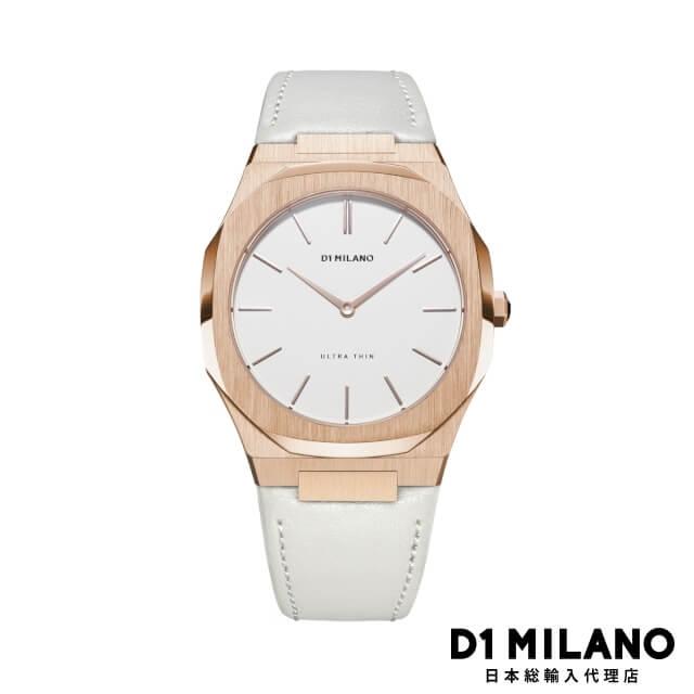 D1ミラノ 日本総輸入代理店 腕時計 メンズ レディース 時計 D1 MILANO Ultra Thin Rose Gold Case Leather Strap