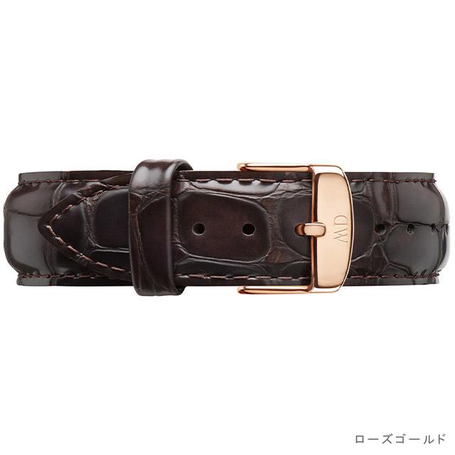ダニエルウェリントン ベルト Daniel Wellington (クラシック 40mm用 付替バンド 幅20mm) レザー ストラップ リスト バンド ヨーク ローズ シルバー 腕時計