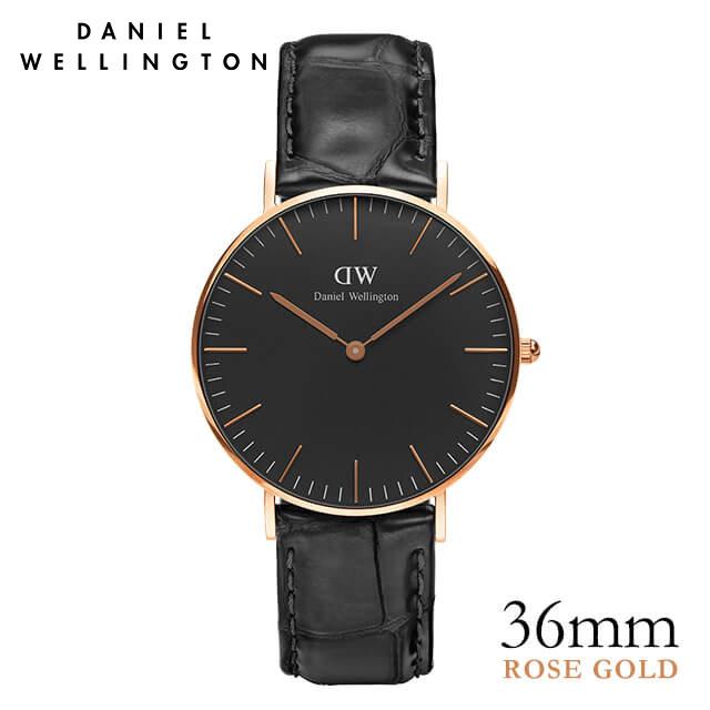 ダニエルウェリントン 36mm Daniel Wellington クラシックブラック レディン ローズゴールド 腕時計