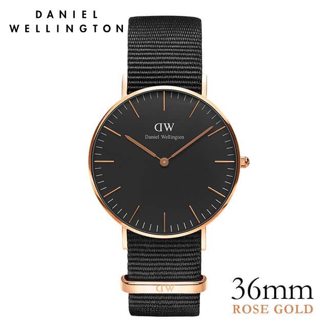 ダニエルウェリントン 36mm Daniel Wellington クラシックブラック コーンウォール ローズゴールド 腕時計