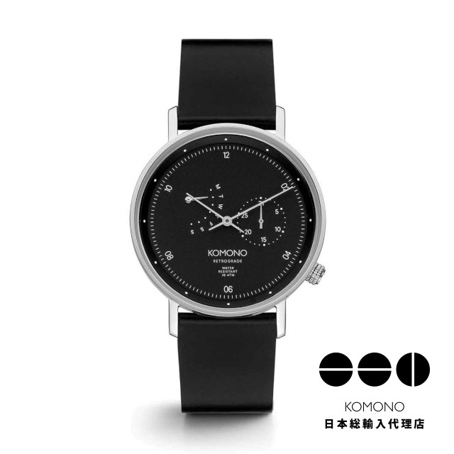 KOMONO 腕時計 ワルサー レトログレード ブラック シルバー [WALTHER RETROGRADE BLACK SILVER]