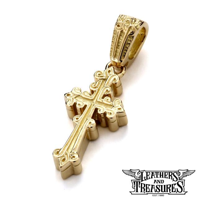 レザーズアンドトレジャーズ【LEATHERS AND TREASURES】K18 ナローケルティック クロス ペンダント