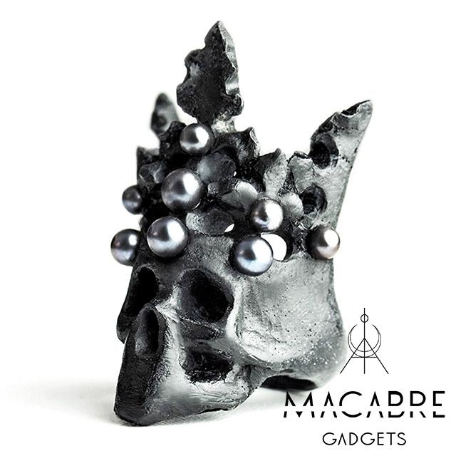 マカブルガジェッツ【Macabre Gadgets】PEARL CROWN RING BLACK パール クラウン リング / ブラック