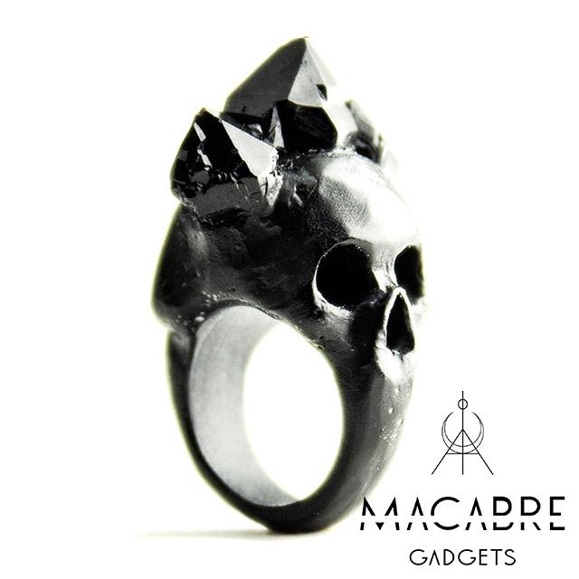 マカブルガジェッツ【Macabre Gadgets】BIFACIAL SKULL RING BLACK バイフェイシャル スカル リング / ブラック
