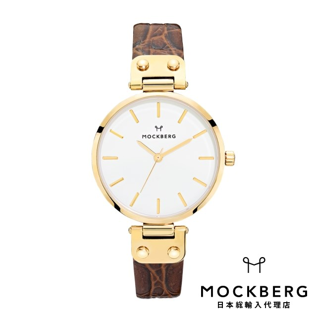 モックバーグ MOCKBERG 日本総輸入代理店公式ショップ 時計 腕時計 レディース ウォッチ Original 34 - Brown Croco, Yellow Gold ギフト