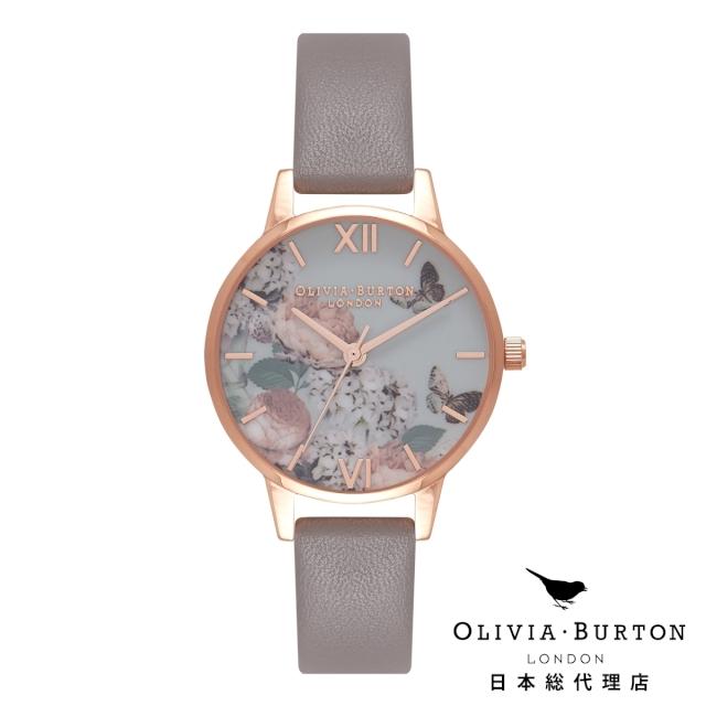 オリビアバートン レディース 腕時計 日本正規総代理店 Olivia Burton エンチャントガーデン ロンドングレー & ローズゴールド 花柄 フラワー 記念日 ギフト プレゼント 新生活 贈り物 時計