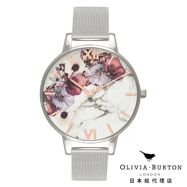 オリビアバートン レディース 時計 腕時計 Olivia Burton マーブルフローラル ローズゴールド & シルバーメッシュ