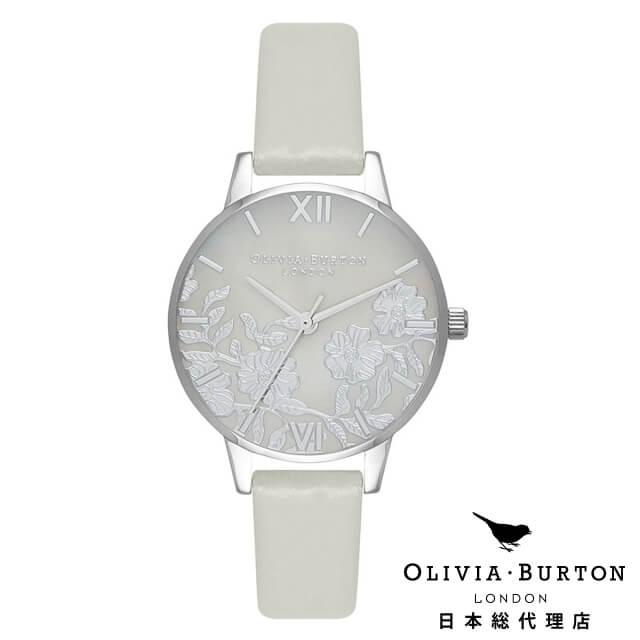オリビアバートン レディース 時計 腕時計 Olivia Burton レースディティール グレイ マザーオブパール ライトグレイ & シルバー