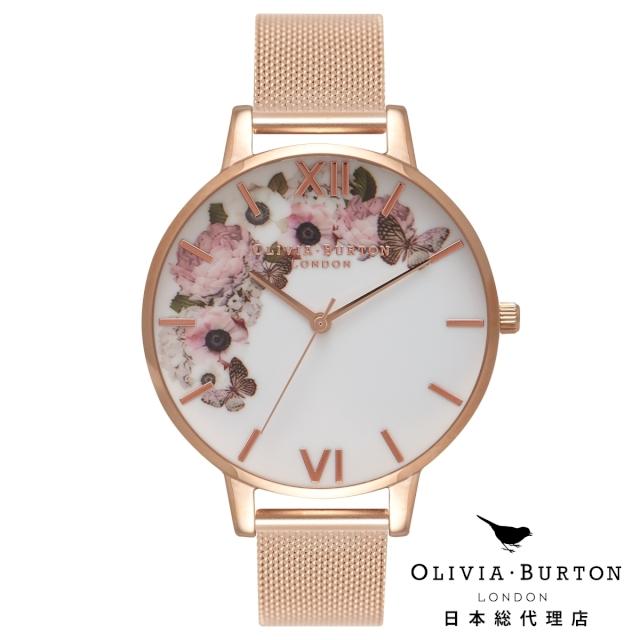 オリビアバートン レディース 腕時計 日本正規総代理店 Olivia Burton シグニクチャーフローラル ローズゴールドメッシュ 花柄 フラワー 記念日 ギフト プレゼント 新生活 贈り物 時計