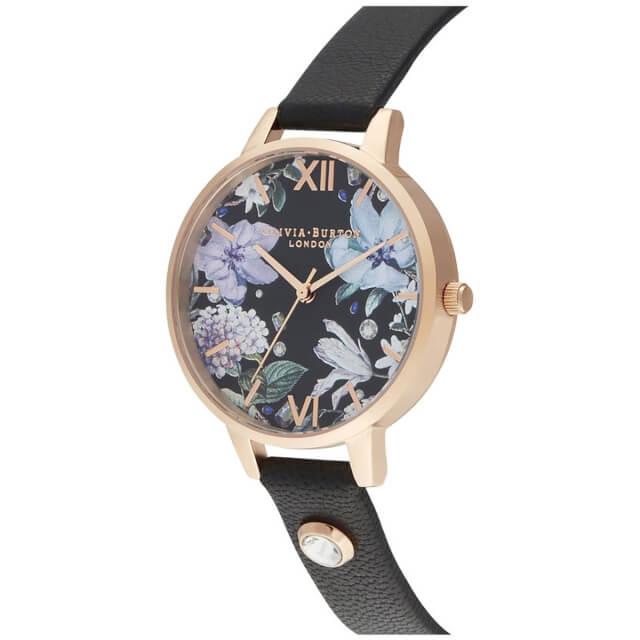 オリビアバートン レディース 時計 Olivia Burton 腕時計 ジュエルドフローラルス デミ エンベリッシュド ブラック & ローズゴールド ギフト 新生活