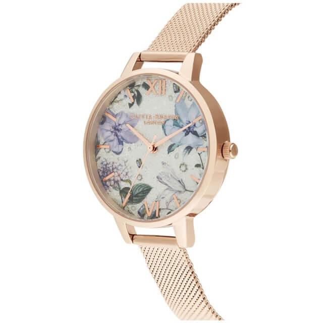 オリビアバートン レディース 時計 Olivia Burton 腕時計 ジュエルドフローラルス デミ シルバーグリッターダイヤル & ローズゴールドメッシュ ギフト 新生活