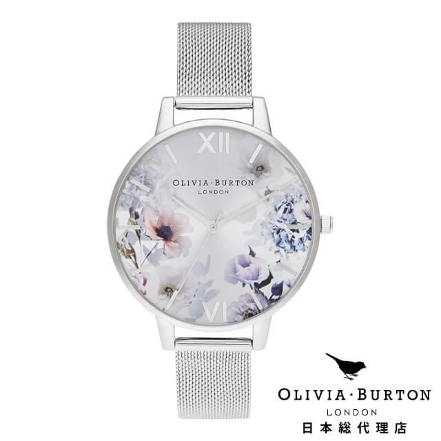 オリビアバートン レディース 時計 Olivia Burton 腕時計 サンライトフローラル ビッグダイヤル シルバー メッシュ ギフト 新生活