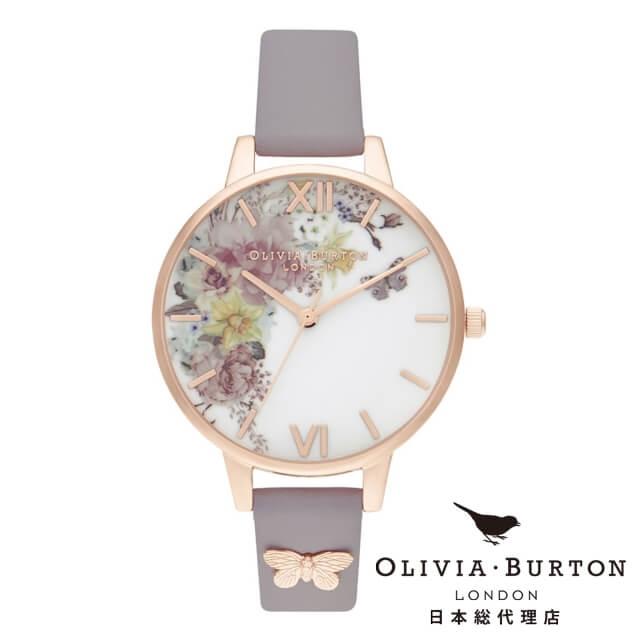 オリビアバートン レディース 時計 Olivia Burton 腕時計 エンチャントガーデン デミ グレーライラック & ローズゴールド ギフト 新生活