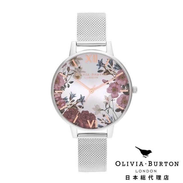 オリビアバートン レディース 時計 Olivia Burton 腕時計 ブリティッシュブルーム ローズゴールド & シルバー メッシュ
