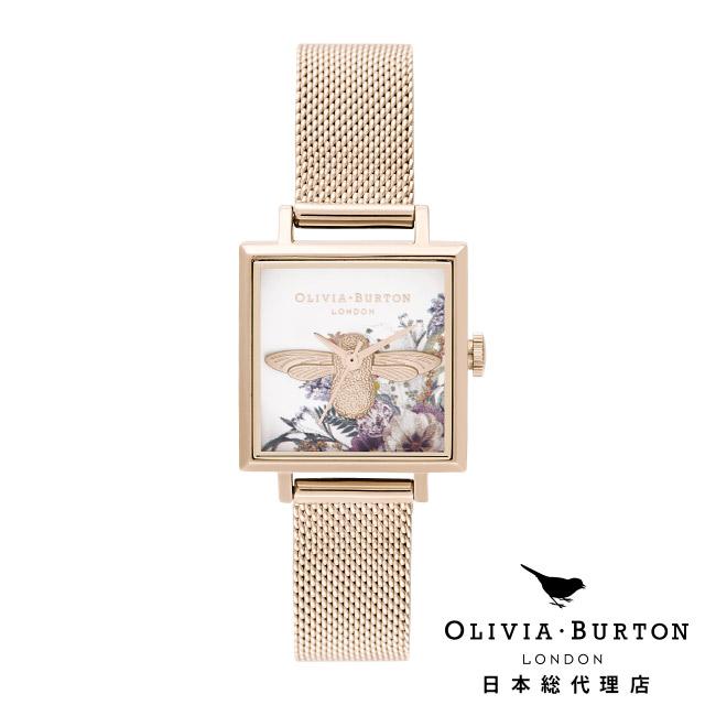 オリビアバートン 新作 レディース 腕時計 日本正規代理店 公式ストア Olivia Burton エンチャントガーデン 3D ビー スクエアダイヤル & パール ローズゴールドメッシュ