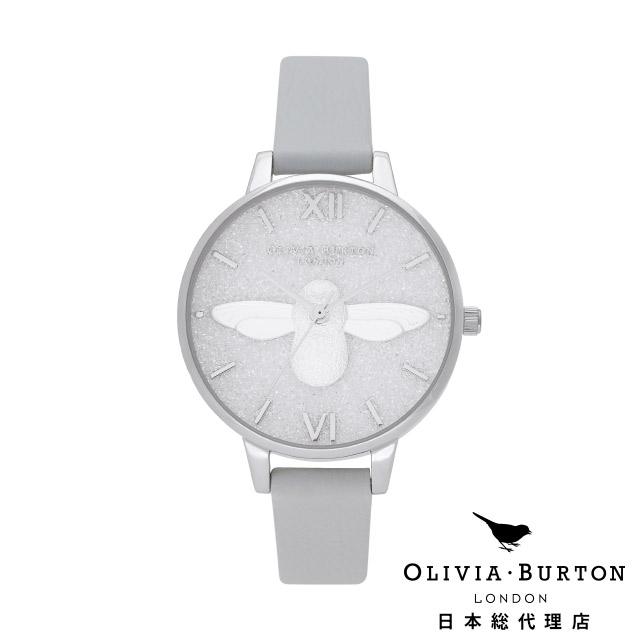 オリビアバートン レディース 腕時計 日本正規代理店 公式ストア Olivia Burton グリッターダイヤル 3D ビー エコ ライトグレイ & シルバー