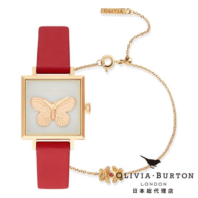 オリビアバートン レディース 時計 Olivia Burton 腕時計 3D バタフライ ギフトセット レッド & ゴールド ギフト 新生活