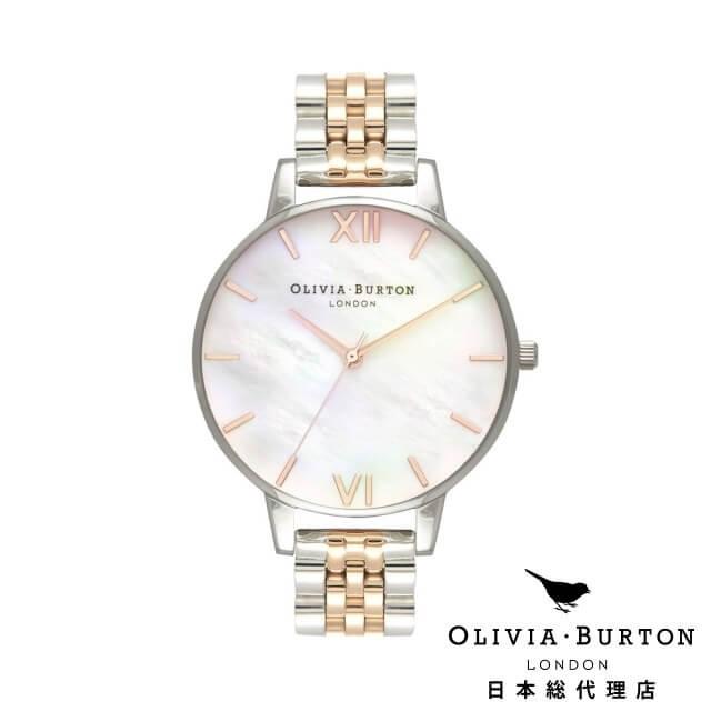 オリビアバートン レディース 時計 Olivia Burton 腕時計 ビッグ ホワイト マザーオブパール ローズ ゴールド & シルバー